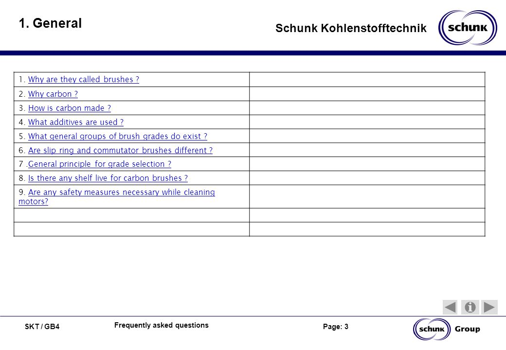 SKT / GB4 Page: 3 Schunk Kohlenstofftechnik Frequently asked questions 1. General 1. Why are they called brushes ?Why are they called brushes ? 2. Why