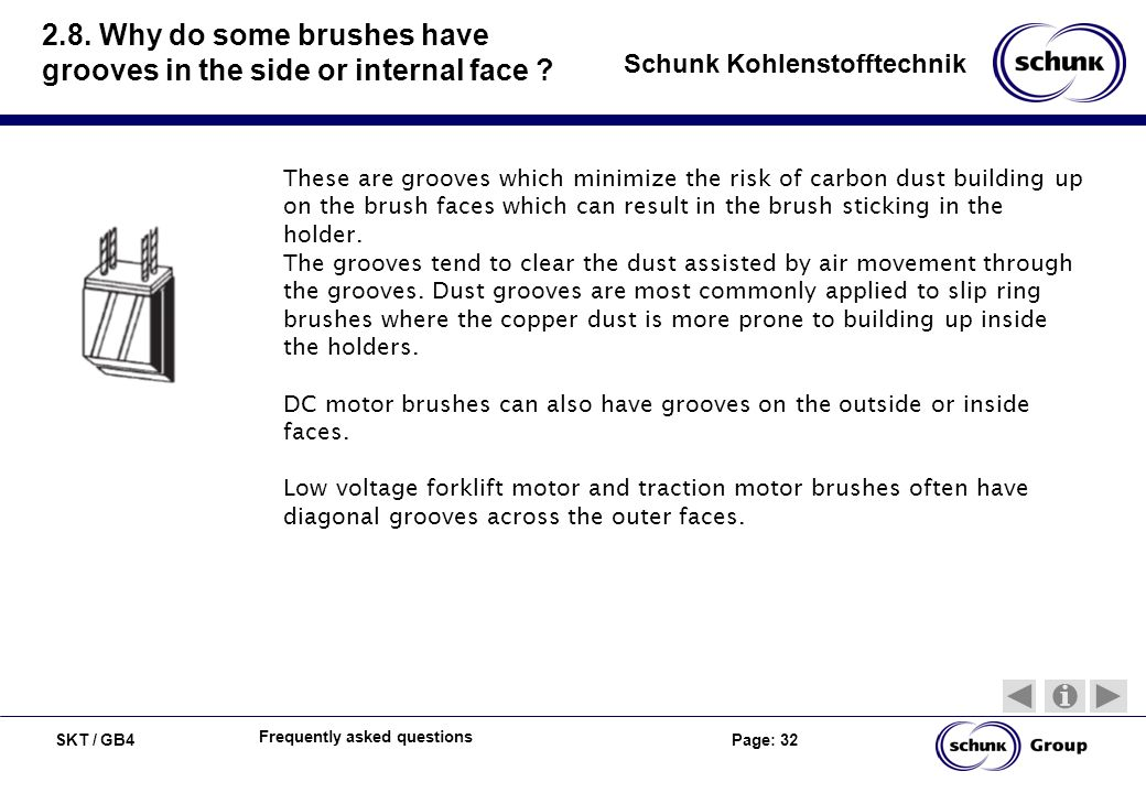 SKT / GB4 Page: 32 Schunk Kohlenstofftechnik Frequently asked questions 2.8. Why do some brushes have grooves in the side or internal face ? These are