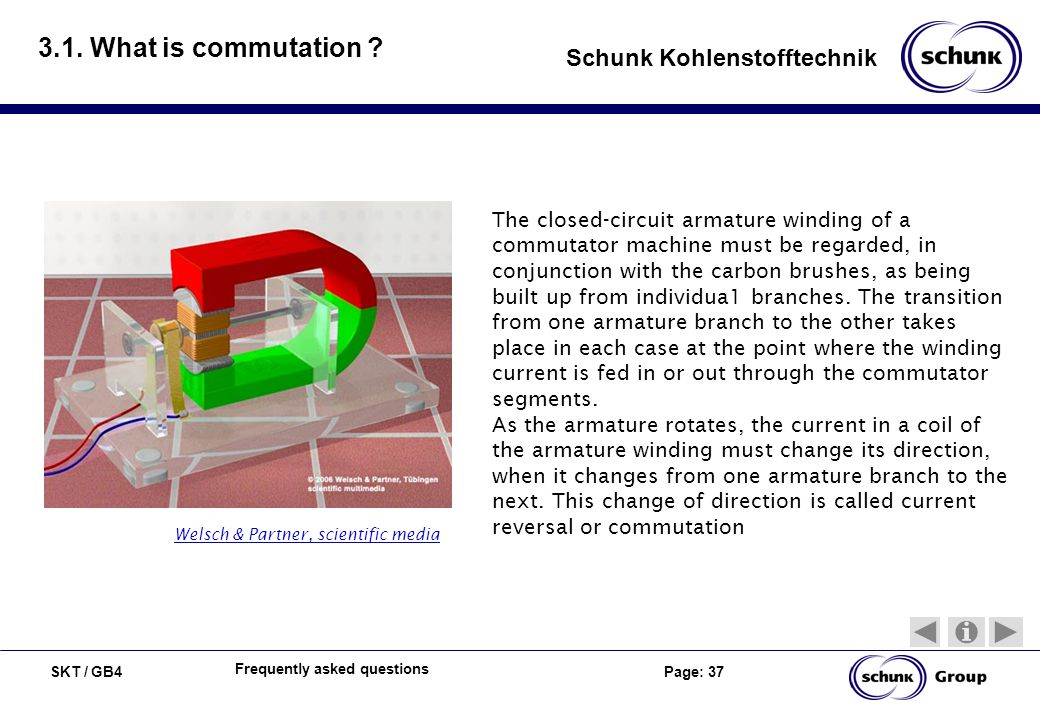SKT / GB4 Page: 37 Schunk Kohlenstofftechnik Frequently asked questions 3.1. What is commutation ? The closed-circuit armature winding of a commutator