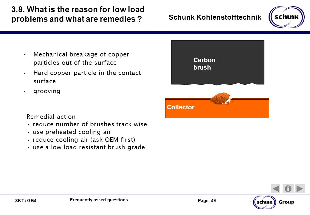 SKT / GB4 Page: 49 Schunk Kohlenstofftechnik Frequently asked questions 3.8. What is the reason for low load problems and what are remedies ? Mechanic