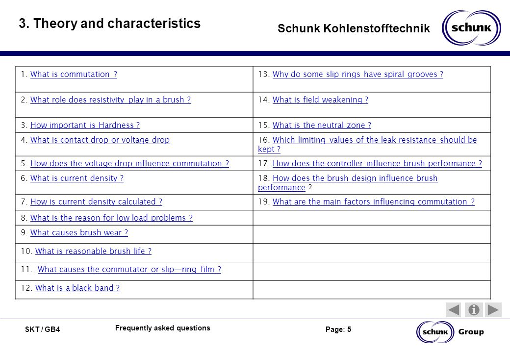 SKT / GB4 Page: 5 Schunk Kohlenstofftechnik Frequently asked questions 3. Theory and characteristics 1. What is commutation ?What is commutation ?13.