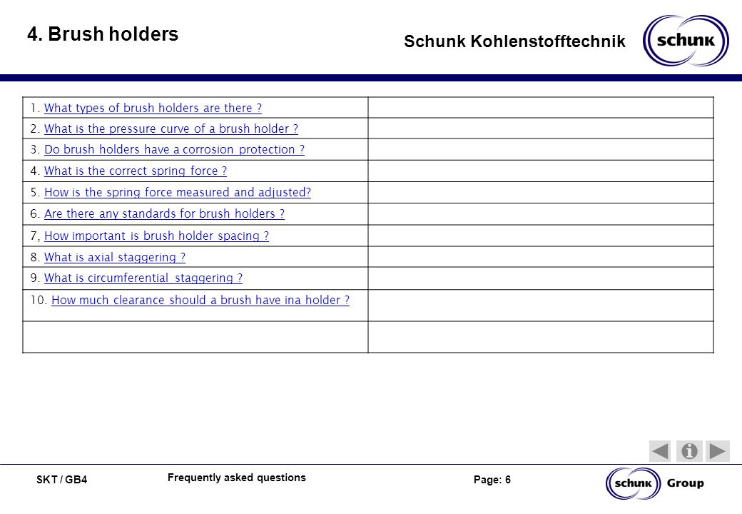 SKT / GB4 Page: 6 Schunk Kohlenstofftechnik Frequently asked questions 4. Brush holders 1. What types of brush holders are there ?What types of brush
