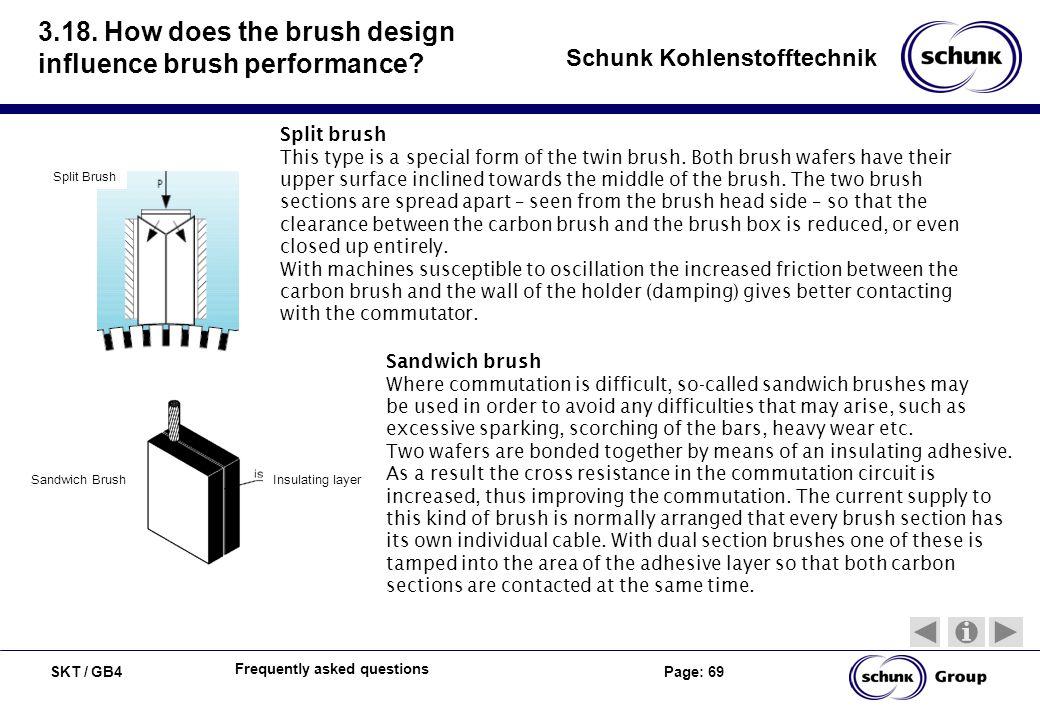 SKT / GB4 Page: 69 Schunk Kohlenstofftechnik Frequently asked questions 3.18. How does the brush design influence brush performance? Split Brush Split