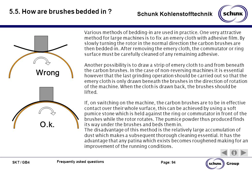 SKT / GB4 Page: 94 Schunk Kohlenstofftechnik Frequently asked questions 5.5. How are brushes bedded in ? Wrong O.k. Various methods of bedding-in are
