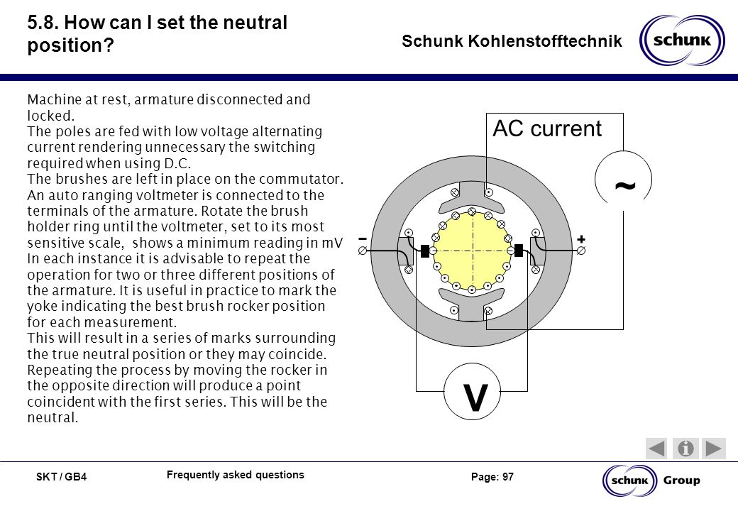 SKT / GB4 Page: 97 Schunk Kohlenstofftechnik Frequently asked questions 5.8. How can I set the neutral position? Machine at rest, armature disconnecte
