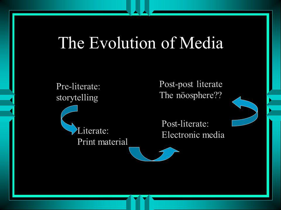 The Evolution of Media Pre-literate: storytelling Literate: Print material Post-literate: Electronic media Post-post literate The nöosphere