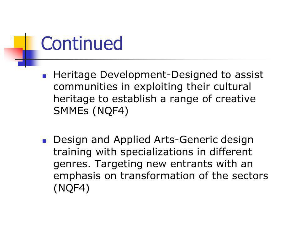 Continued Heritage Development-Designed to assist communities in exploiting their cultural heritage to establish a range of creative SMMEs (NQF4) Desi
