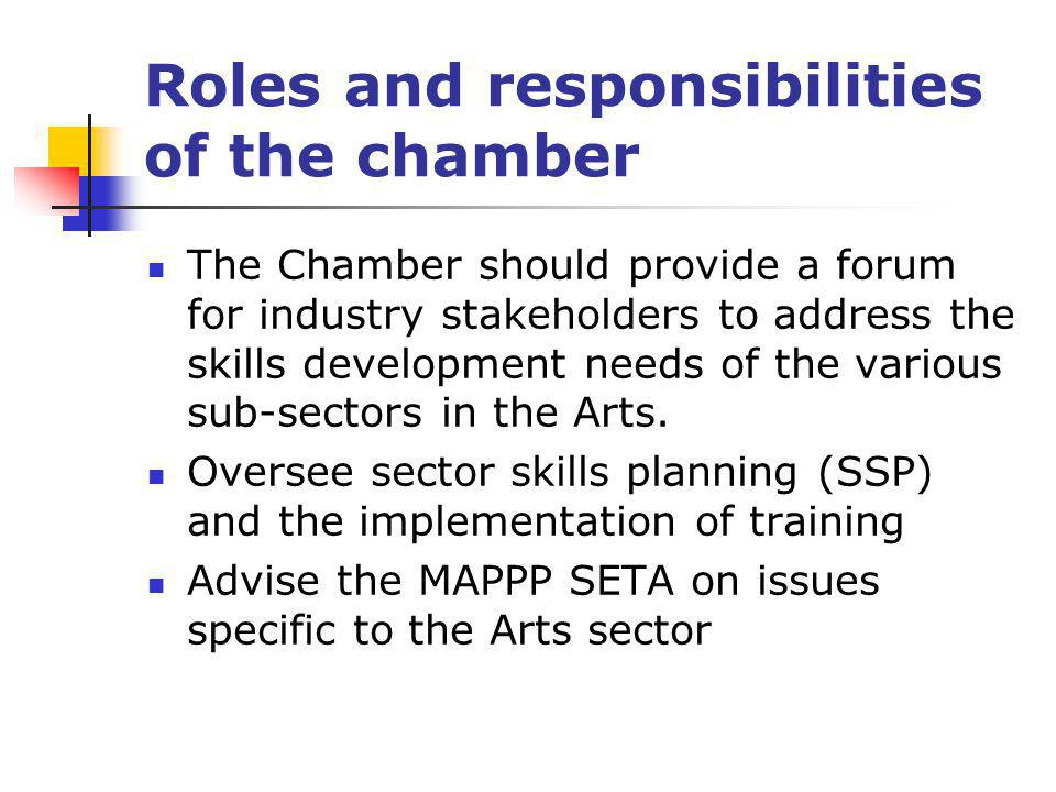 Roles and responsibilities of the chamber The Chamber should provide a forum for industry stakeholders to address the skills development needs of the