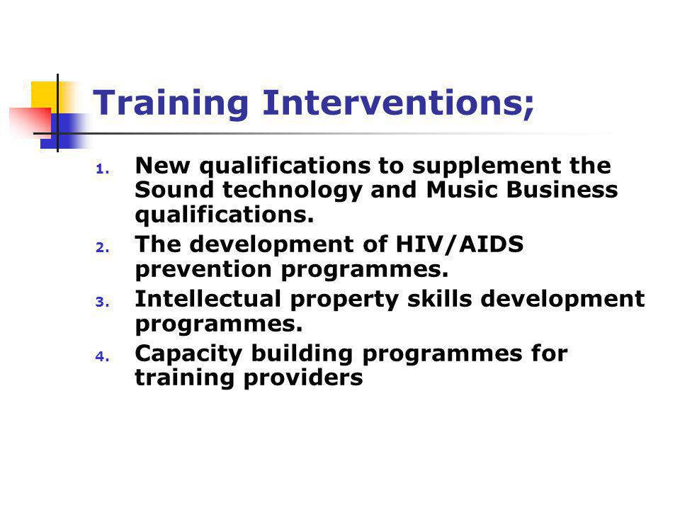 Training Interventions; 1. New qualifications to supplement the Sound technology and Music Business qualifications. 2. The development of HIV/AIDS pre