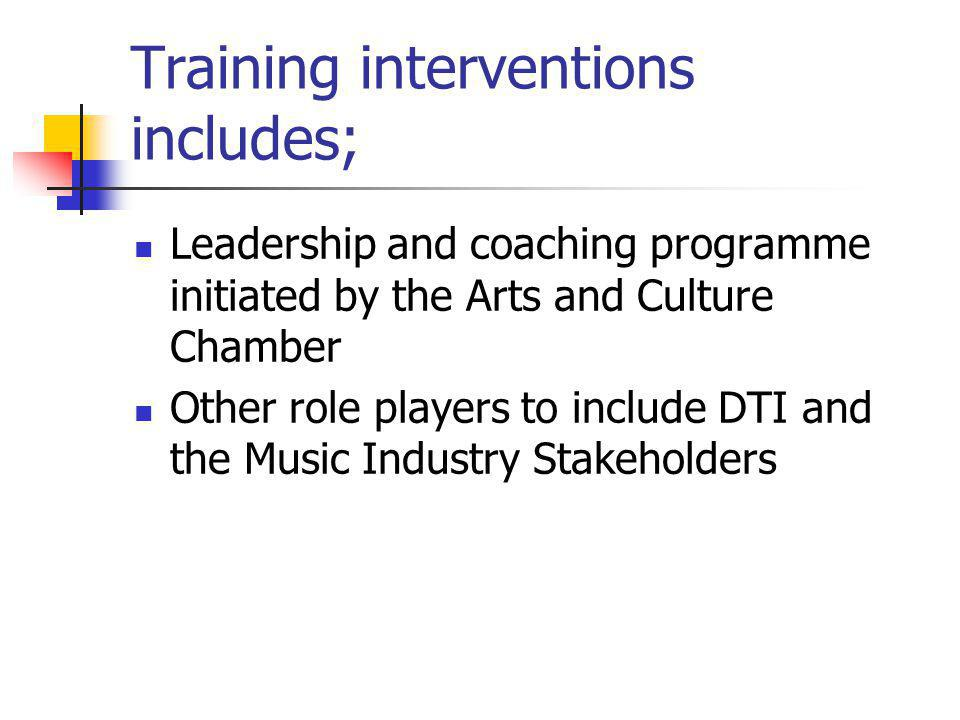 Training interventions includes; Leadership and coaching programme initiated by the Arts and Culture Chamber Other role players to include DTI and the