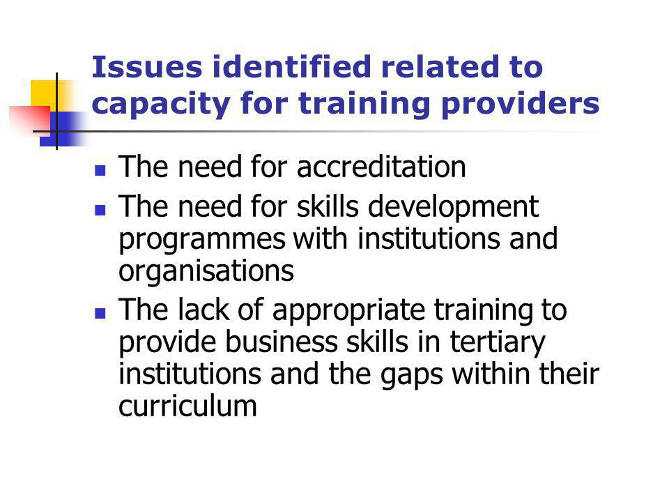 Issues identified related to capacity for training providers The need for accreditation The need for skills development programmes with institutions a