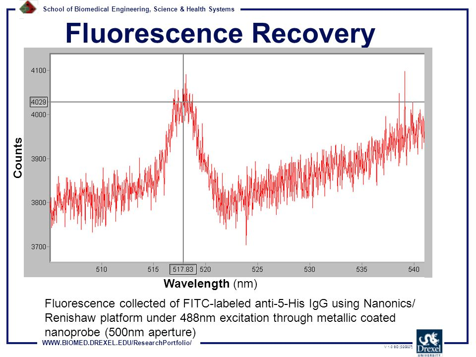 WWW.BIOMED.DREXEL.EDU/ResearchPortfolio/ School of Biomedical Engineering, Science & Health Systems V 1.0 SD [020327] Fluorescence Recovery Wavelength (nm) Counts Fluorescence collected of FITC-labeled anti-5-His IgG using Nanonics/ Renishaw platform under 488nm excitation through metallic coated nanoprobe (500nm aperture)