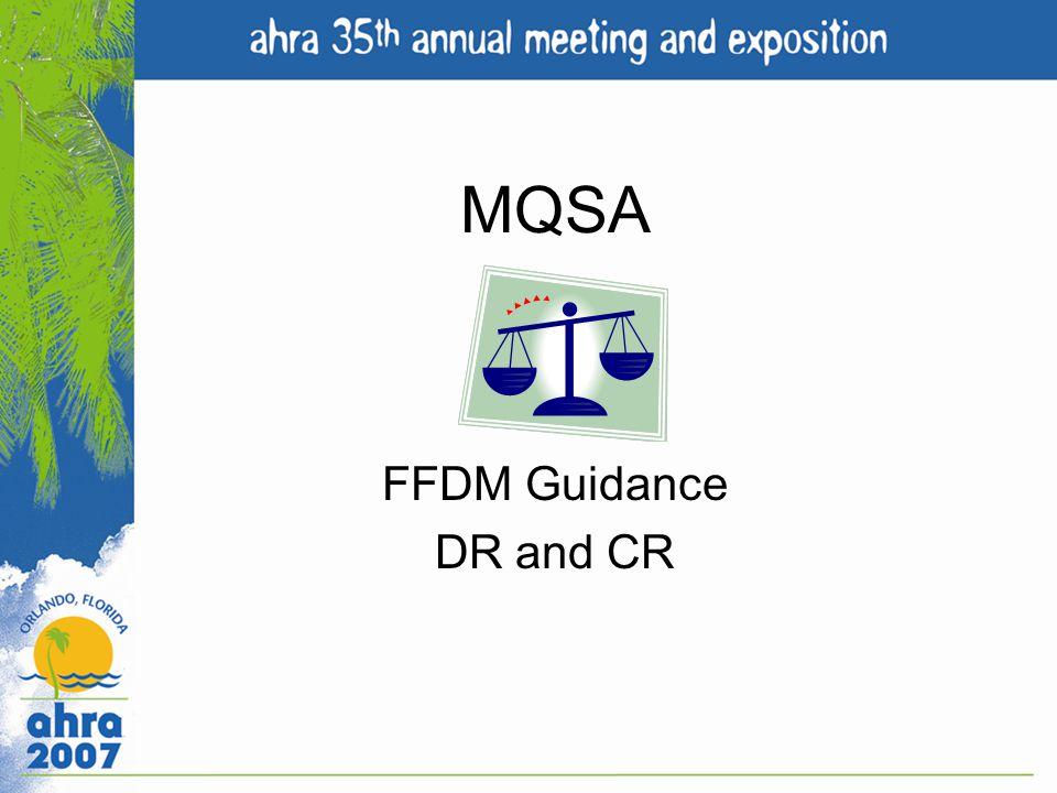 MQSA FFDM Guidance DR and CR