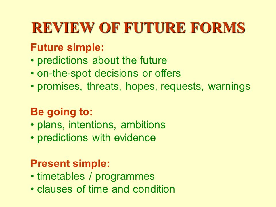 REVIEW OF FUTURE FORMS Future simple: predictions about the future on-the-spot decisions or offers promises, threats, hopes, requests, warnings Be going to: plans, intentions, ambitions predictions with evidence Present simple: timetables / programmes clauses of time and condition