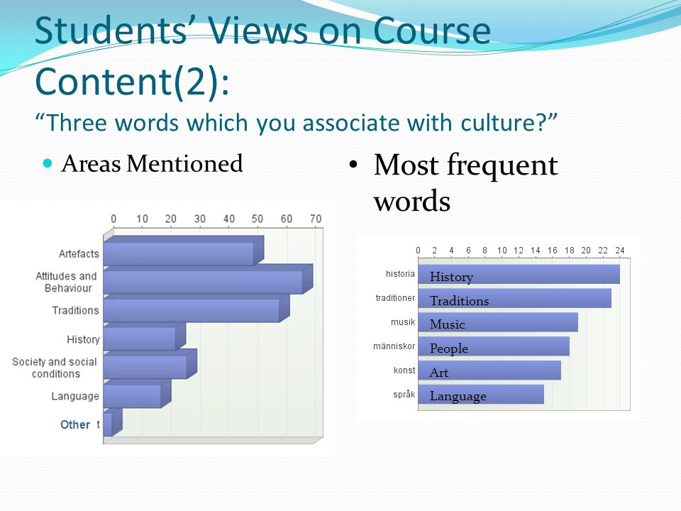 Students Views on Course Content(2): Three words which you associate with culture.