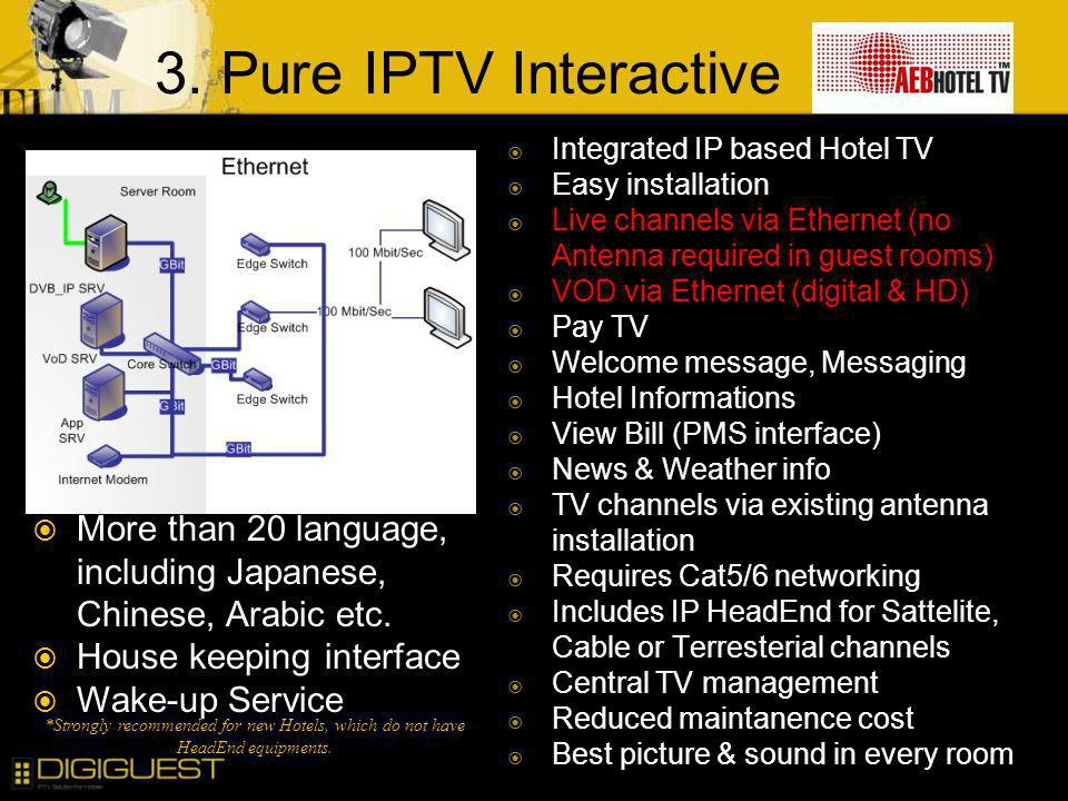 3. Pure IPTV Interactive Integrated IP based Hotel TV Easy installation Live channels via Ethernet (no Antenna required in guest rooms) VOD via Ethern