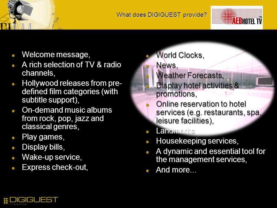 What does DIGIGUEST provide? Welcome message, Welcome message, A rich selection of TV & radio channels, A rich selection of TV & radio channels, Holly