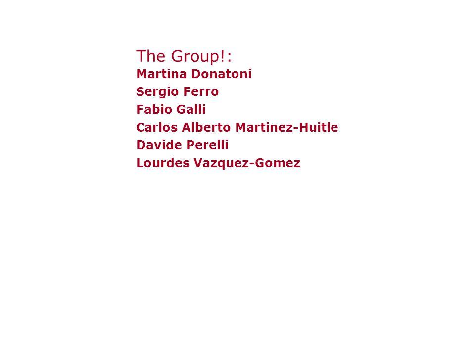 The Group!: Martina Donatoni Sergio Ferro Fabio Galli Carlos Alberto Martinez-Huitle Davide Perelli Lourdes Vazquez-Gomez
