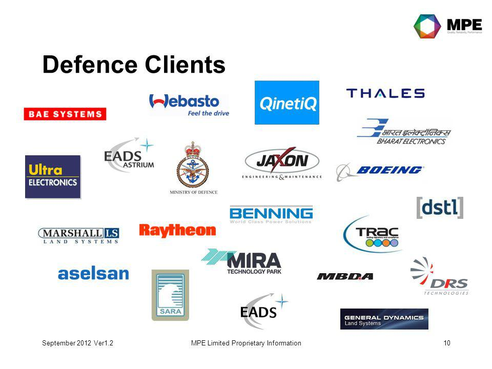 September 2012 Ver1.2MPE Limited Proprietary Information10 Defence Clients