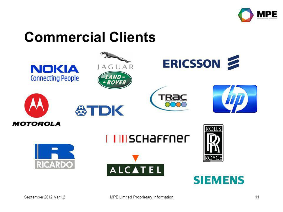 September 2012 Ver1.2MPE Limited Proprietary Information11 Commercial Clients