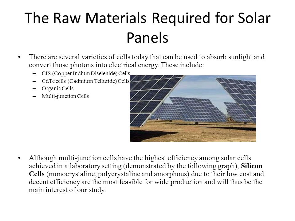 The Raw Materials Required for Solar Panels There are several varieties of cells today that can be used to absorb sunlight and convert those photons i