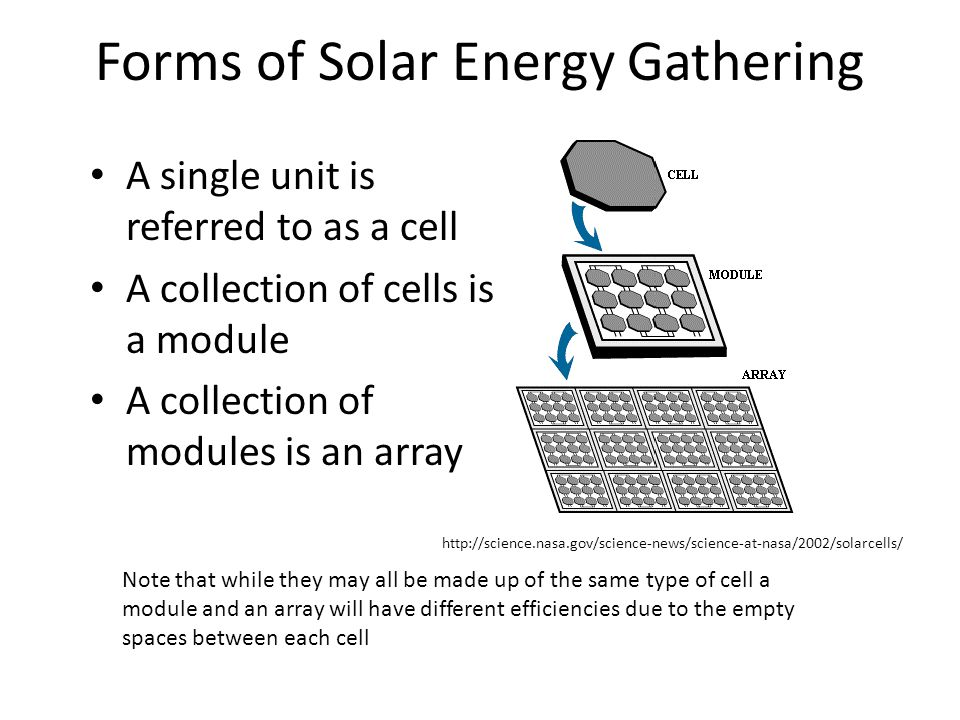 Forms of Solar Energy Gathering A single unit is referred to as a cell A collection of cells is a module A collection of modules is an array Note that