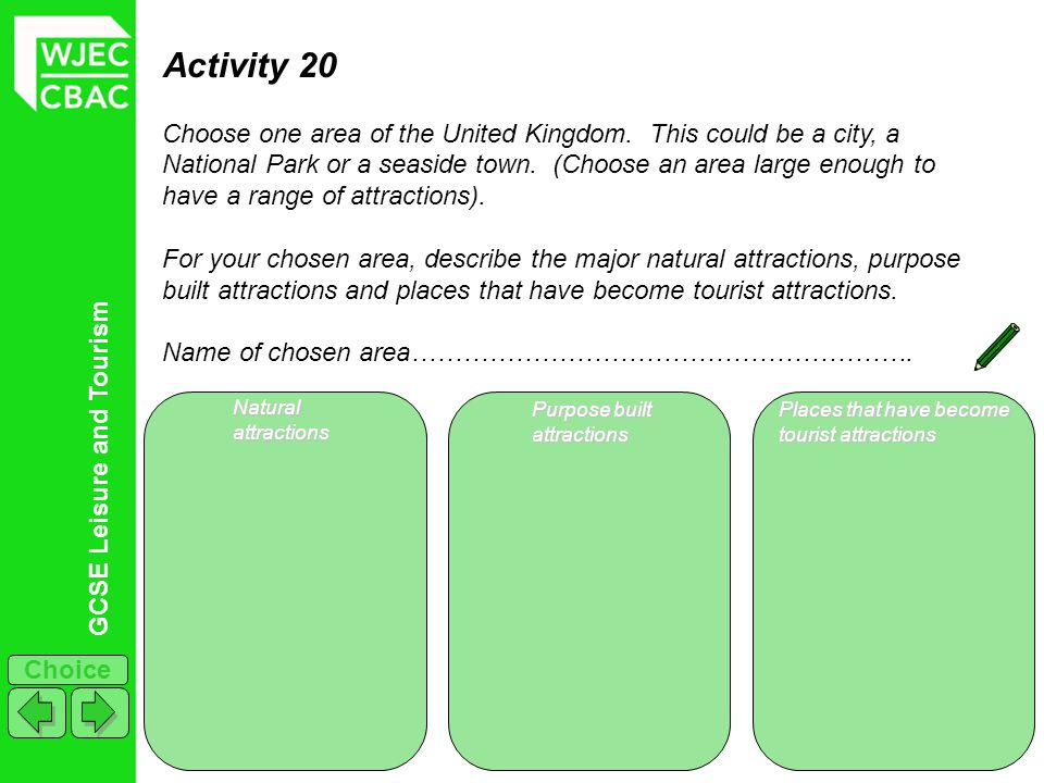 GCSE Leisure and Tourism Choice Activity 20 Choose one area of the United Kingdom. This could be a city, a National Park or a seaside town. (Choose an