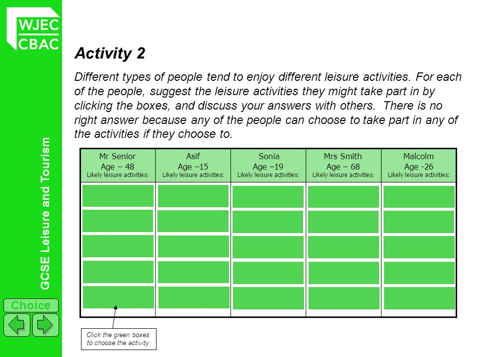 GCSE Leisure and Tourism Choice Activity 2 Different types of people tend to enjoy different leisure activities. For each of the people, suggest the l