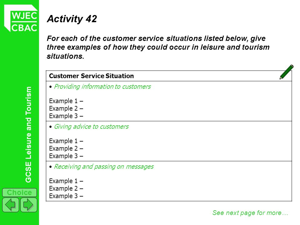 GCSE Leisure and Tourism Choice Activity 42 For each of the customer service situations listed below, give three examples of how they could occur in l