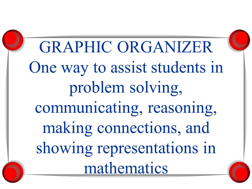 GRAPHIC ORGANIZER One way to assist students in problem solving, communicating, reasoning, making connections, and showing representations in mathemat