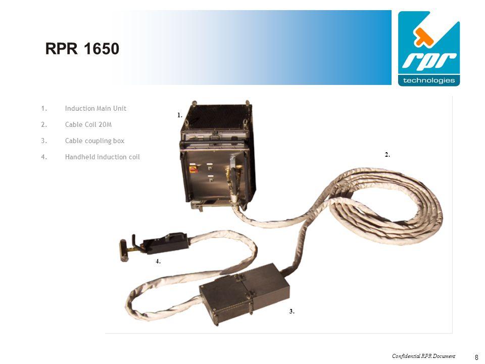 Confidential RPR Document 8 RPR 1650 1. 2. 3. 4. 1.Induction Main Unit 2.Cable Coil 20M 3.Cable coupling box 4.Handheld induction coil