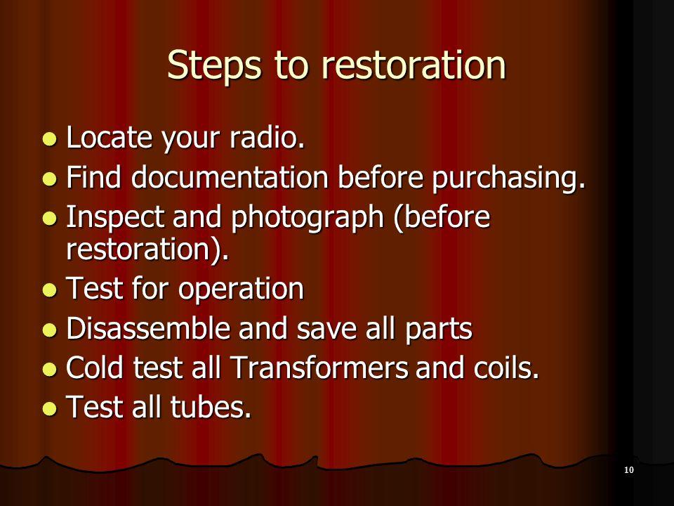10 Steps to restoration Locate your radio.Locate your radio.