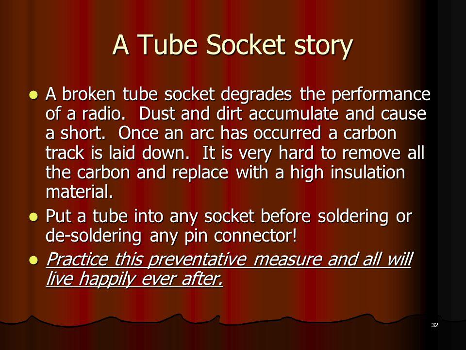 32 A Tube Socket story A broken tube socket degrades the performance of a radio.
