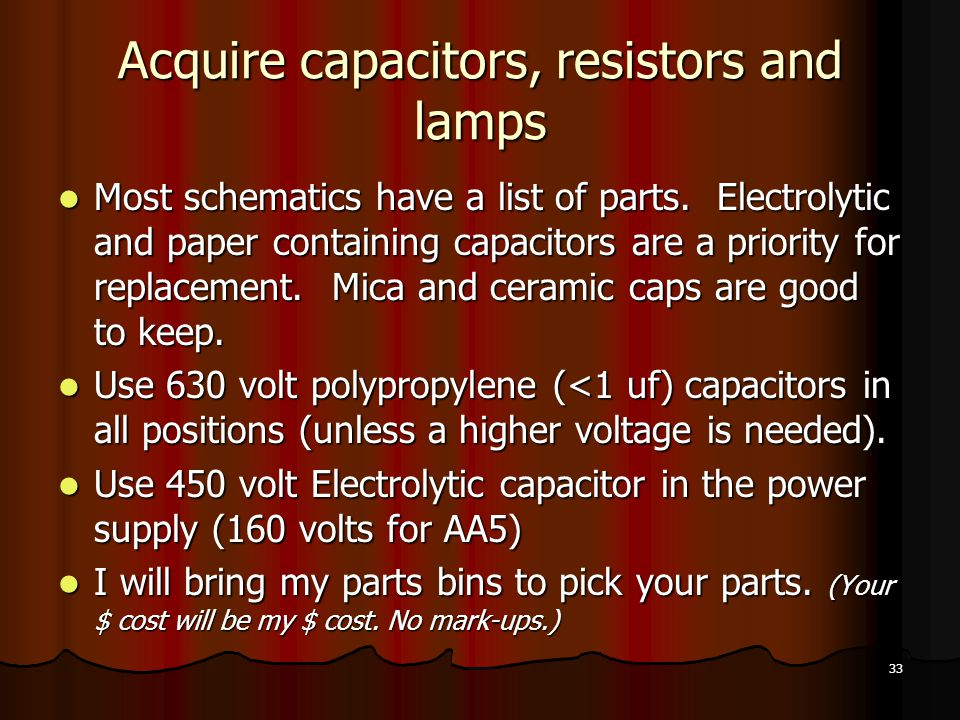 33 Acquire capacitors, resistors and lamps Most schematics have a list of parts.