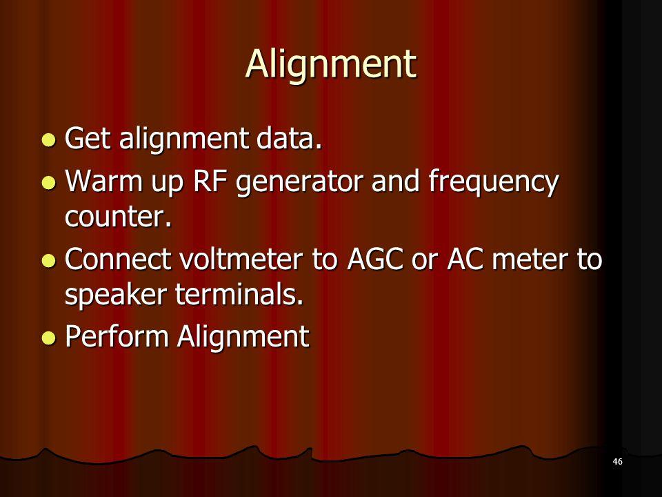 46 Alignment Get alignment data.Get alignment data.