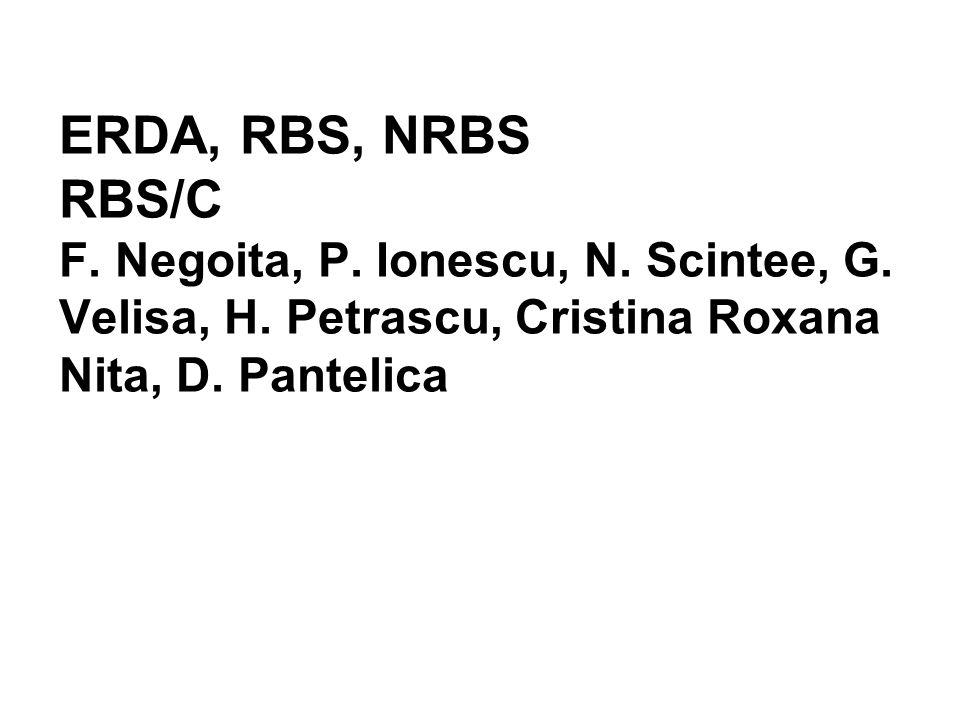 ERDA, RBS, NRBS RBS/C F. Negoita, P. Ionescu, N. Scintee, G. Velisa, H. Petrascu, Cristina Roxana Nita, D. Pantelica
