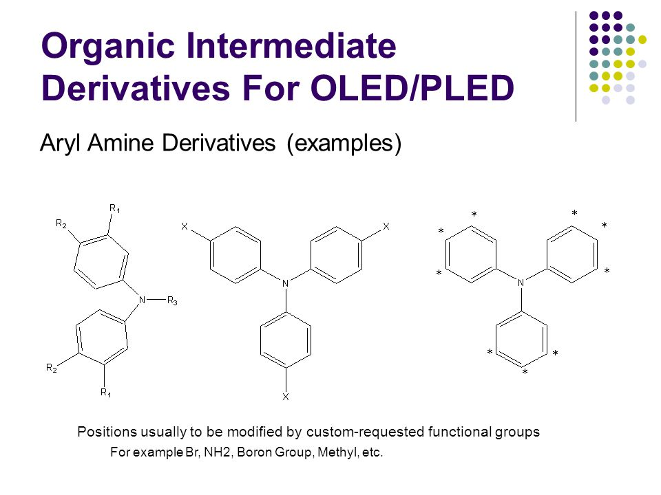 Organic Intermediate Derivatives For OLED/PLED Aryl Amine Derivatives (examples) Positions usually to be modified by custom-requested functional groups For example Br, NH2, Boron Group, Methyl, etc.