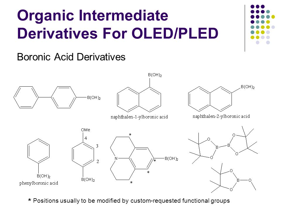 Organic Intermediate Derivatives For OLED/PLED Boronic Acid Derivatives * Positions usually to be modified by custom-requested functional groups