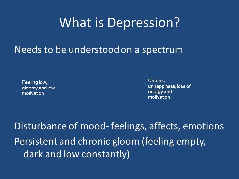 What is Depression? Needs to be understood on a spectrum Disturbance of mood- feelings, affects, emotions Persistent and chronic gloom (feeling empty,