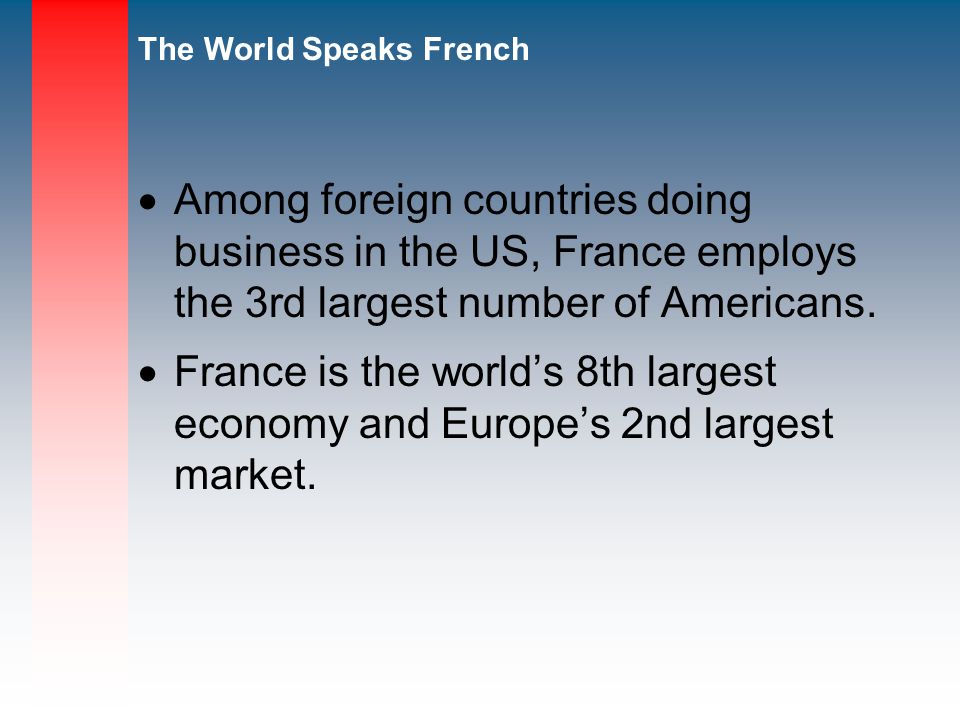 The World Speaks French Among foreign countries doing business in the US, France employs the 3rd largest number of Americans.