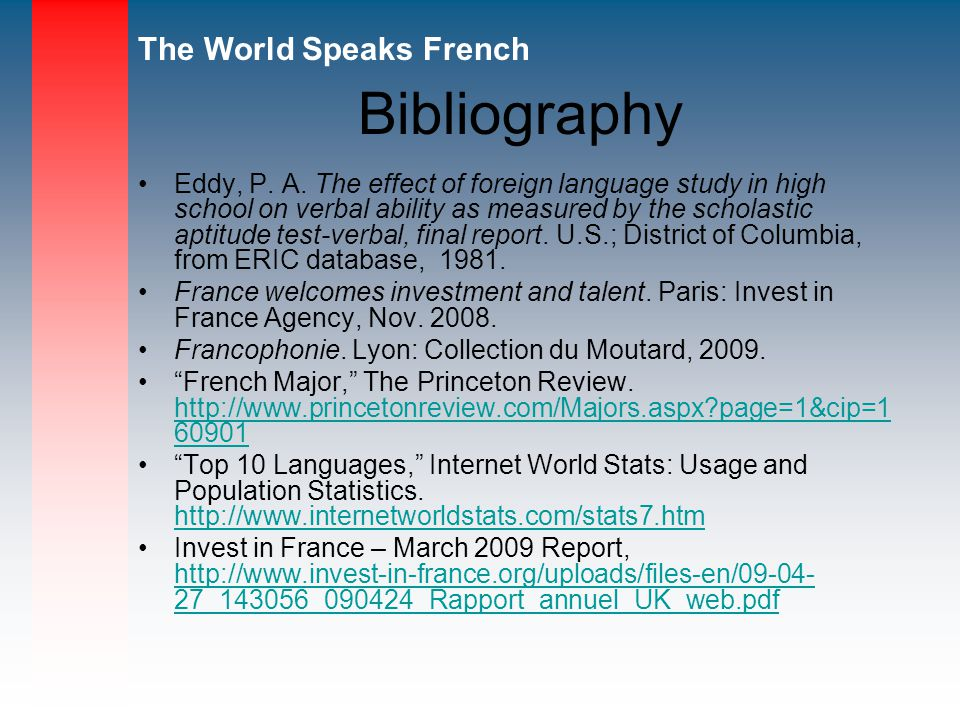 The World Speaks French Bibliography Eddy, P.A.