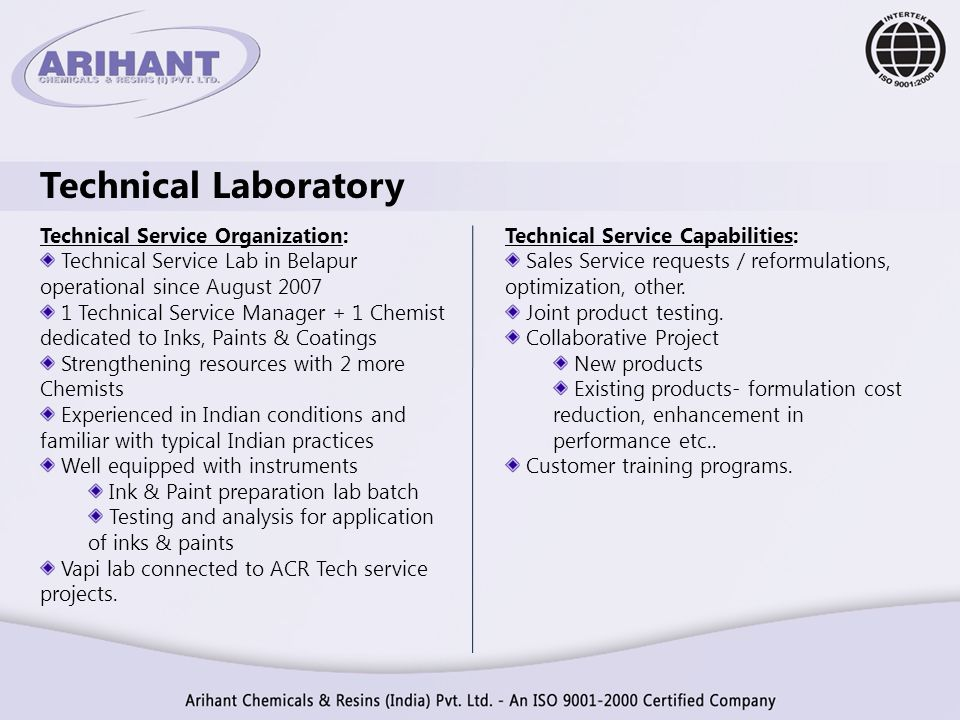 Technical Laboratory Technical Service Organization: Technical Service Lab in Belapur operational since August 2007 1 Technical Service Manager + 1 Ch