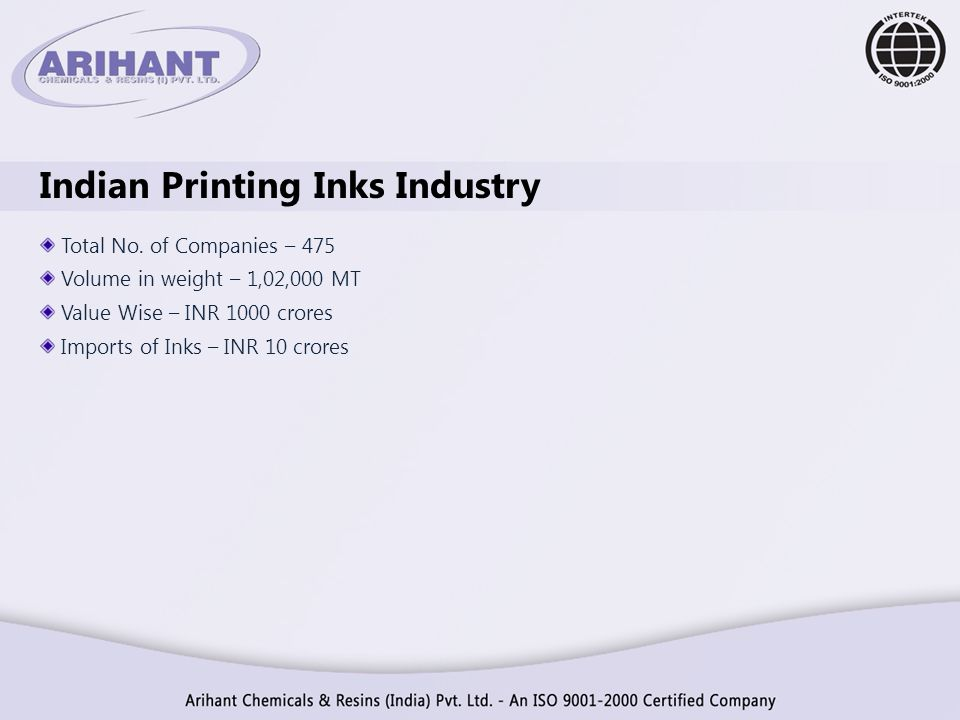 Indian Printing Inks Industry Total No. of Companies – 475 Volume in weight – 1,02,000 MT Value Wise – INR 1000 crores Imports of Inks – INR 10 crores