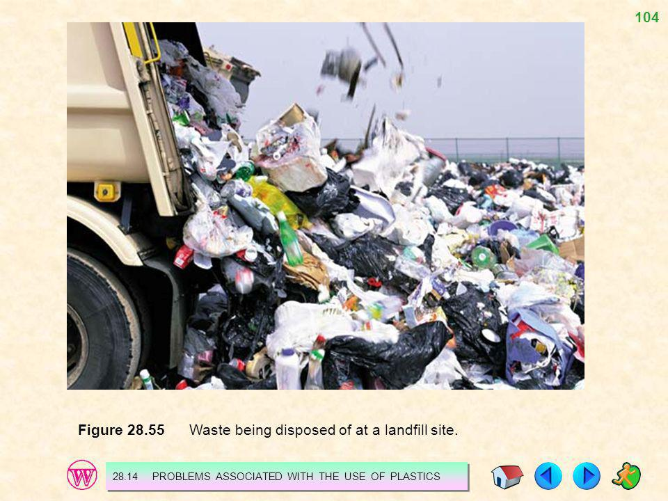 104 Figure 28.55 Waste being disposed of at a landfill site. 28.14 PROBLEMS ASSOCIATED WITH THE USE OF PLASTICS