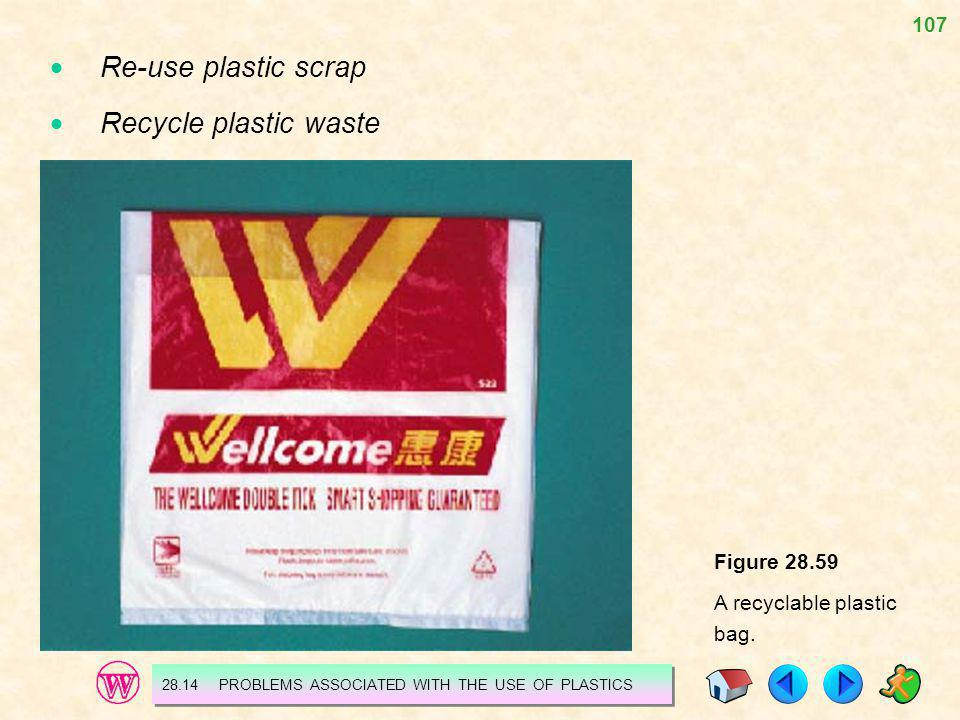 107 Re-use plastic scrap Recycle plastic waste Figure 28.59 A recyclable plastic bag. 28.14 PROBLEMS ASSOCIATED WITH THE USE OF PLASTICS