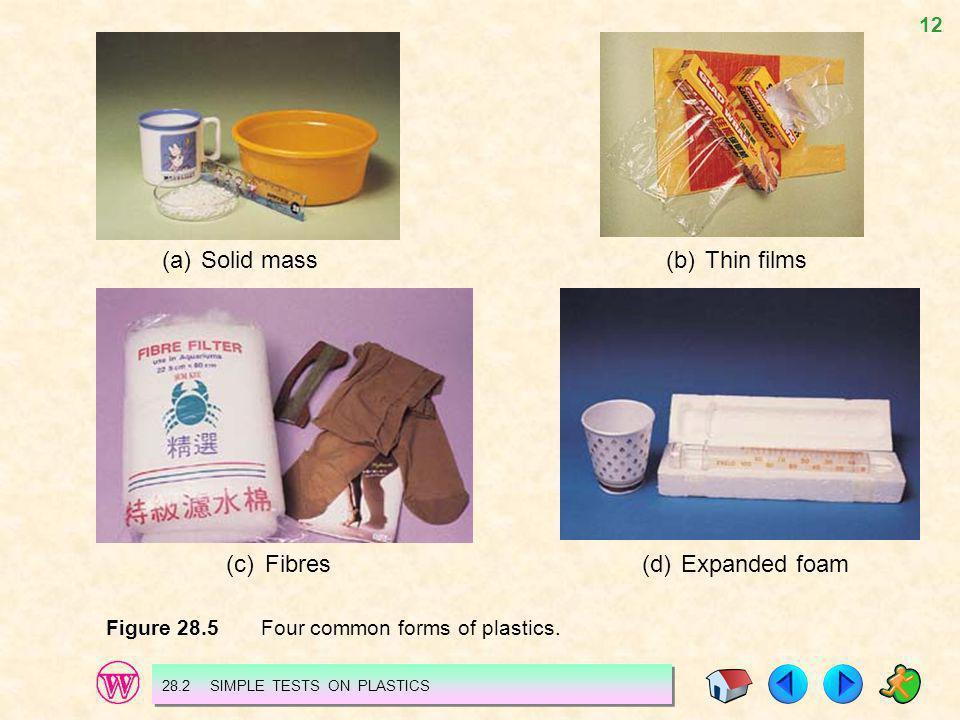 12 (a)Solid mass(b)Thin films (c)Fibres(d)Expanded foam Figure 28.5 Four common forms of plastics. 28.2 SIMPLE TESTS ON PLASTICS