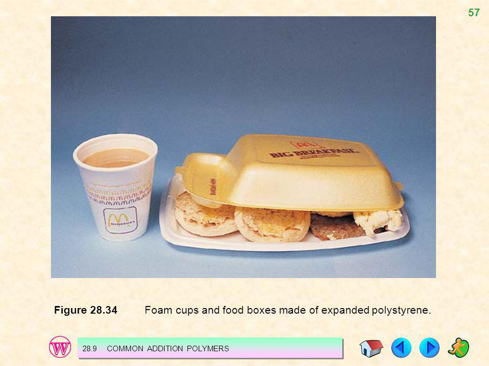 57 Figure 28.34 Foam cups and food boxes made of expanded polystyrene. 28.9 COMMON ADDITION POLYMERS
