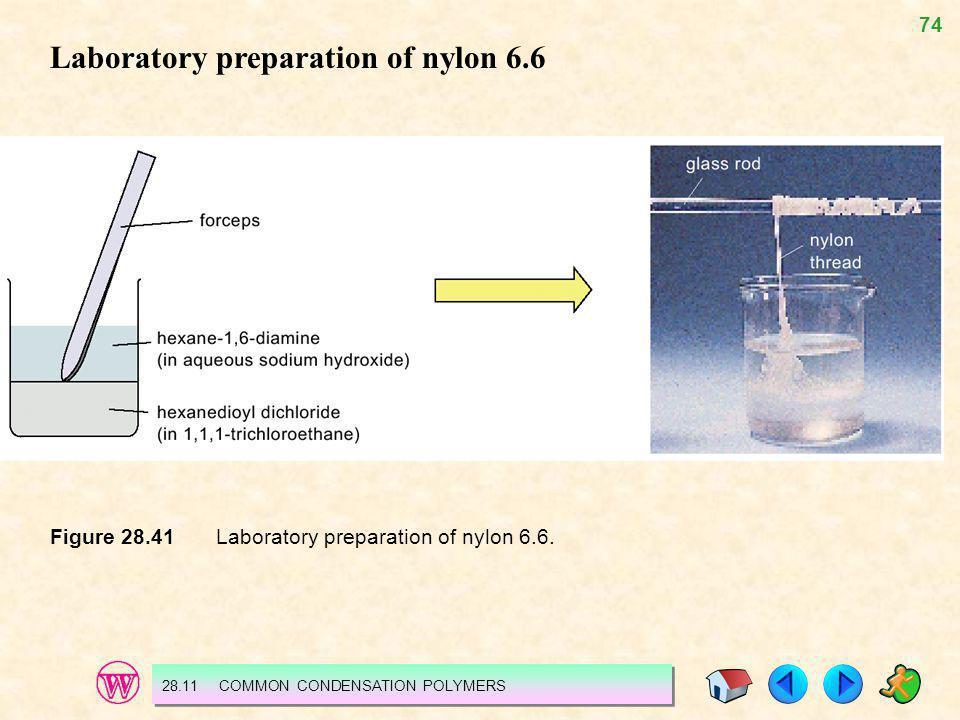 74 Figure 28.41 Laboratory preparation of nylon 6.6. 28.11 COMMON CONDENSATION POLYMERS Laboratory preparation of nylon 6.6