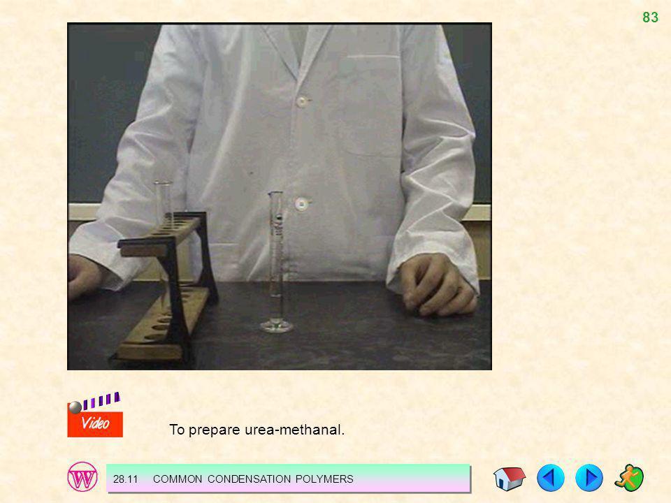 83 28.11 COMMON CONDENSATION POLYMERS To prepare urea-methanal.