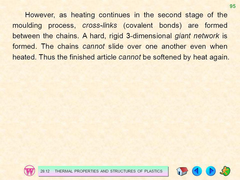 95 However, as heating continues in the second stage of the moulding process, cross-links (covalent bonds) are formed between the chains. A hard, rigi